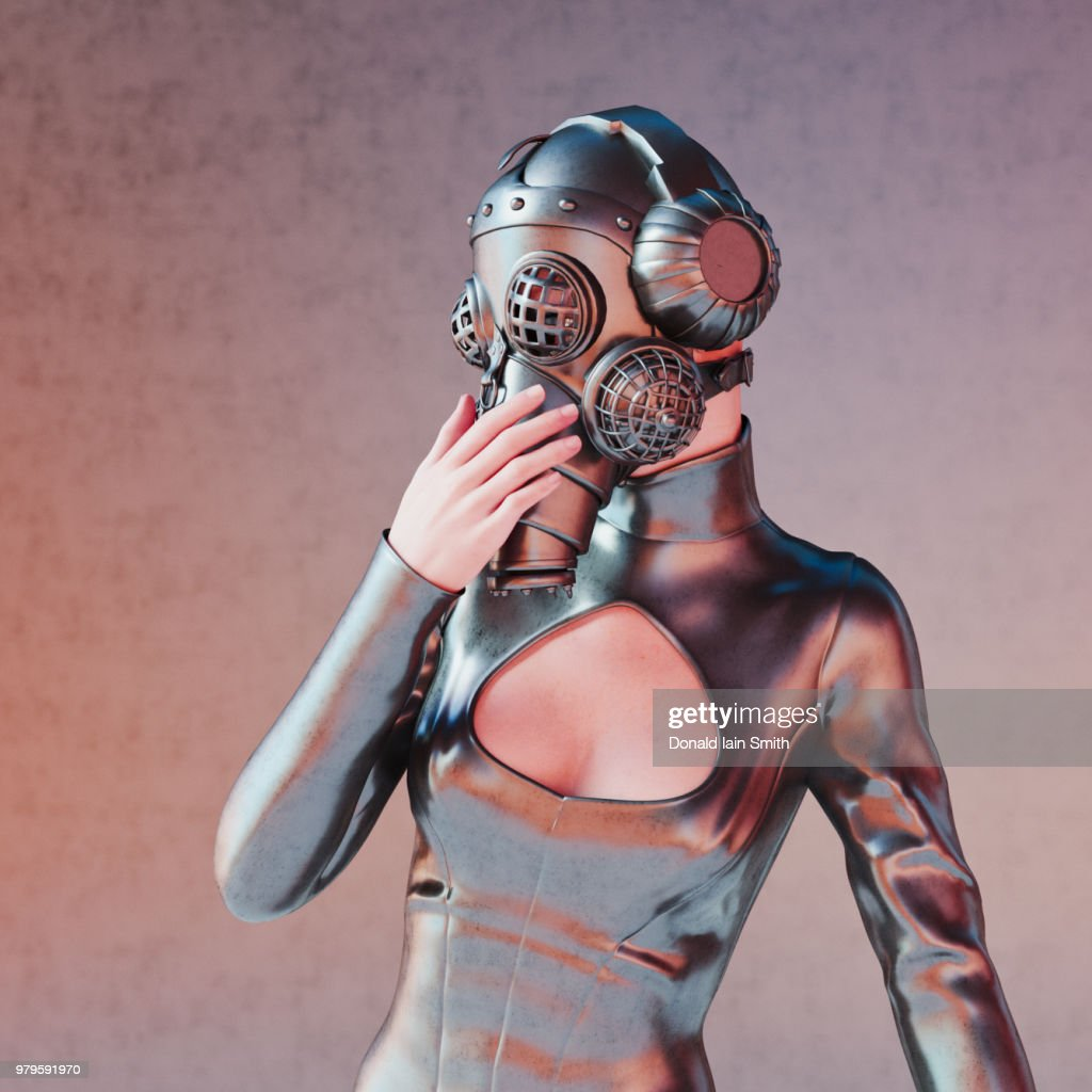 Woman with gas mask and headphones in black latex : Stock Photo