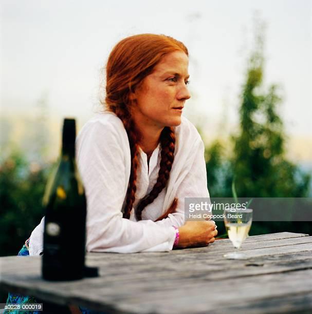 woman with glass of wine - heidi coppock beard stock-fotos und bilder