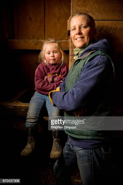 Woman with granddaughter on Montana ranch