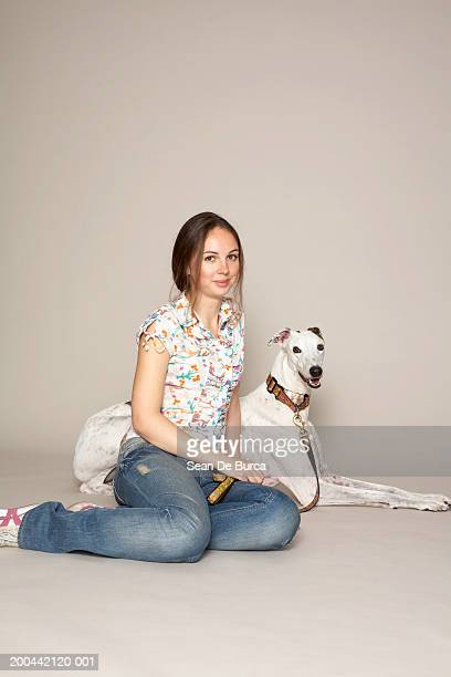 Woman with greyhound, portrait