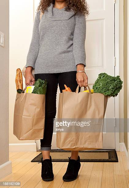 woman with grocery bags