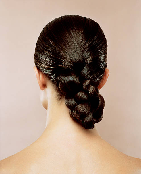 woman with hair braided, rear view - braids stock pictures, royalty-free photos & images