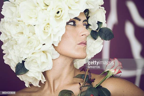 Woman with hair of roses