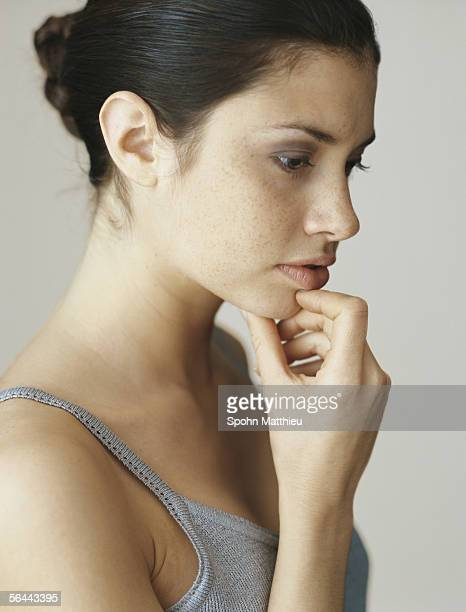 Nude Caucasian Woman Looking Up High-Res Stock Photo