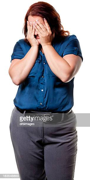 woman with hands covering eyes - big fat white women stock pictures, royalty-free photos & images