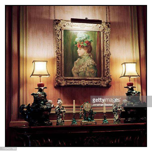Woman with hat of cherries' by Renoir is photographed in the cape room of the Palacio de Liria for Vogue Espana on March 15-17, 2010 in Madrid,...