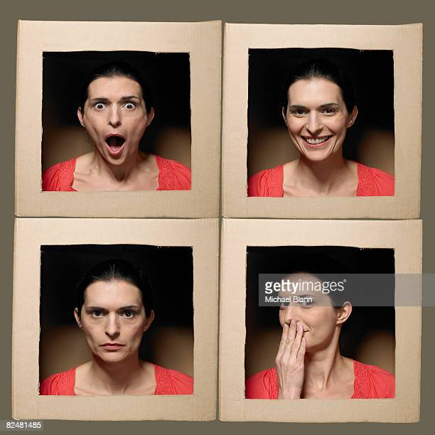 Frau mit Kopf in Schachteln ziehen Gesichter