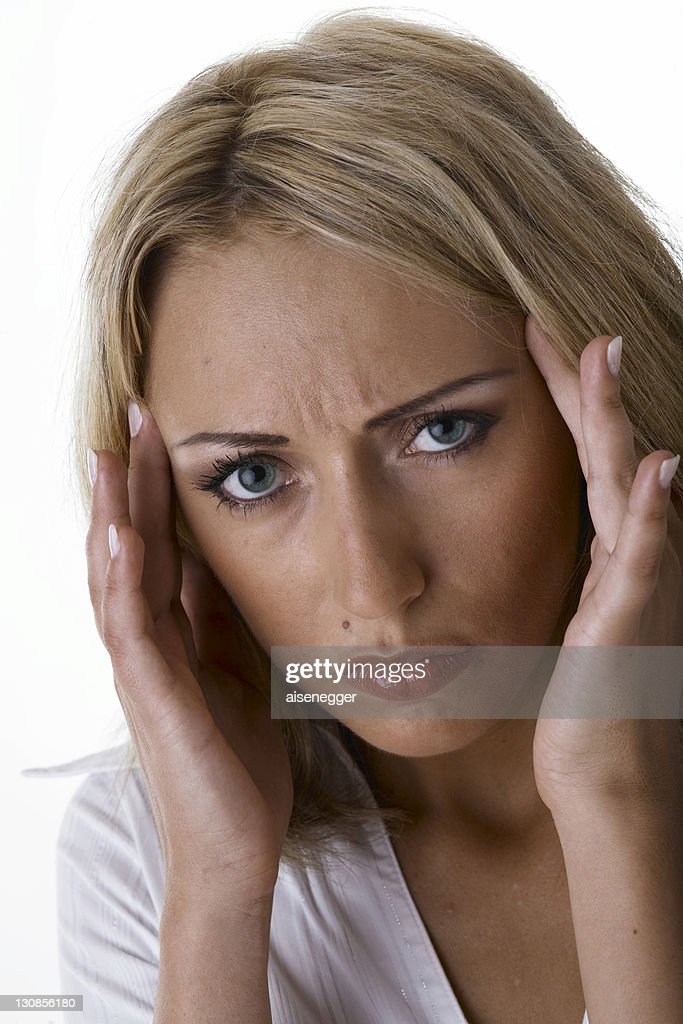 Woman with headache : Foto de stock