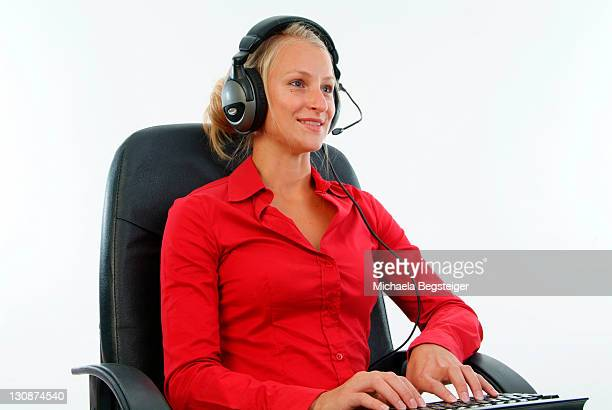 woman with headset, callcenter - royalty free images no watermark photos et images de collection