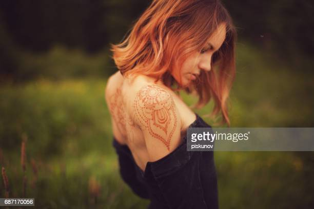 Woman with henna tatto