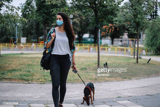 woman with her adopted pet dog walking during the pandemic - belgrade serbia stock pictures, royalty-free photos & images
