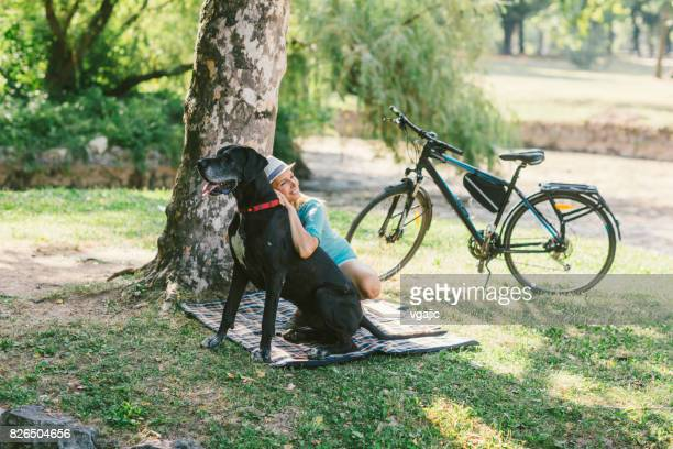 Woman with her dog in park