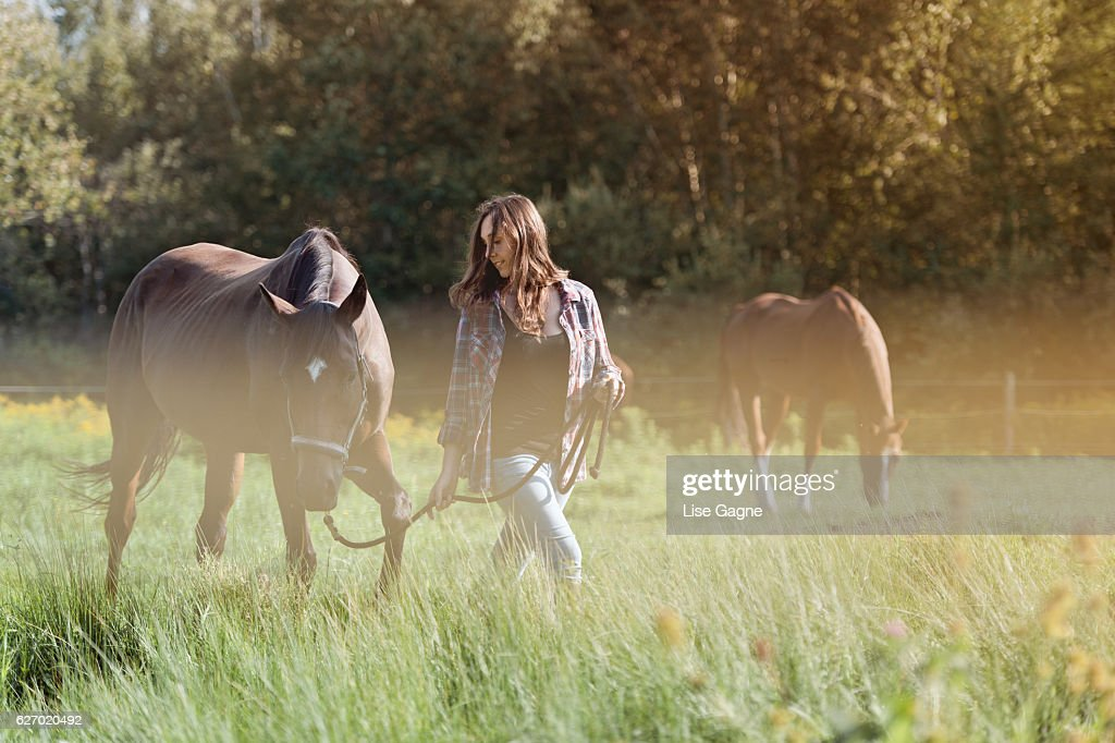 Woman with her horse : Stock Photo