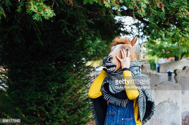 woman with horse mask - horse head ストックフォトと画像