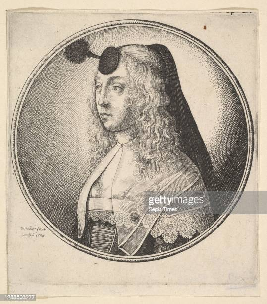 Woman with houpette on forehead turned to left Etching; second state of two, Plate: 4 1/16 × 3 11/16 in. , Prints, Wenceslaus Hollar , A woman with...