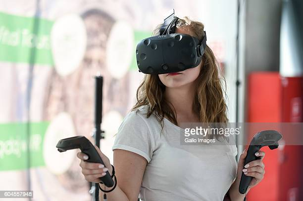 Woman with HTC VIVE goggles attends the fourth edition of the IT Future Expo 2016 on September 08 2016 in Warsaw Poland The event introduces new...