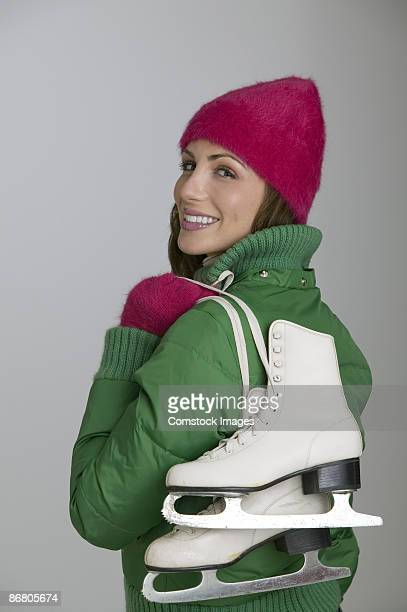 Woman with ice skates