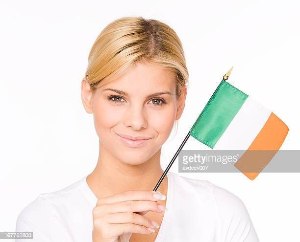 woman with irish flag - irish flag stock pictures, royalty-free photos & images