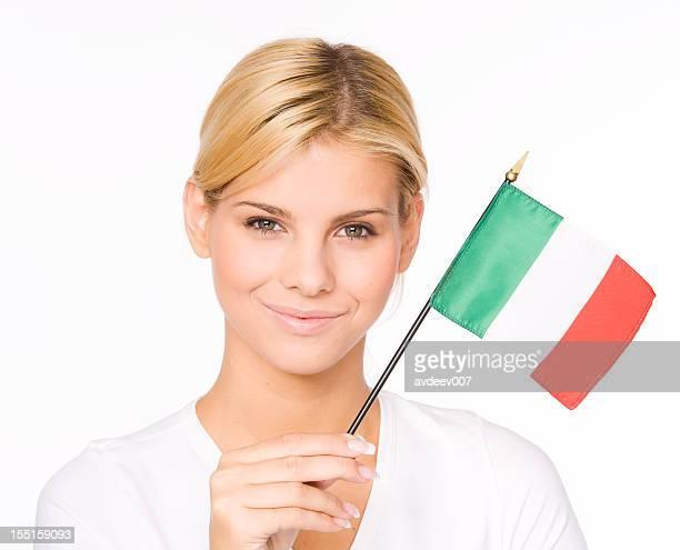 Femme avec drapeau italien