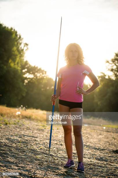 Woman with javelin portrait
