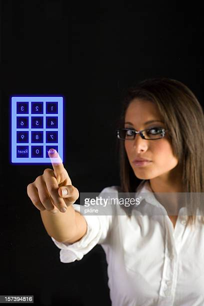 Woman with Keypad