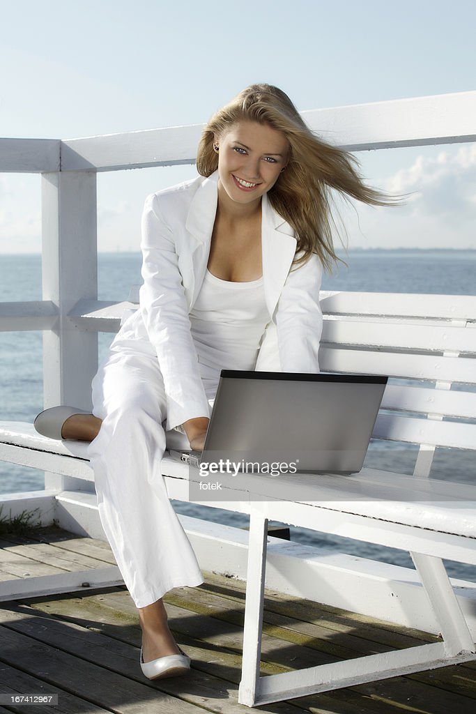 Woman with laptop : Stock Photo