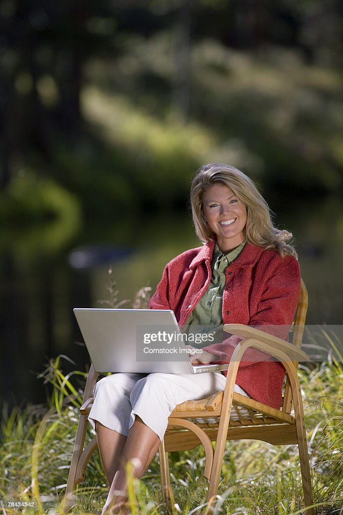 Woman with laptop : Stockfoto