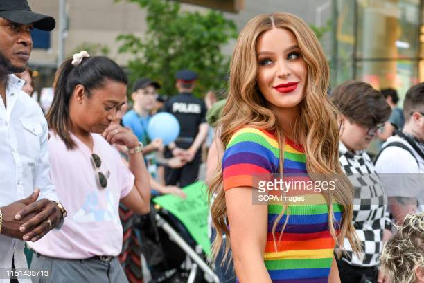 STREET TORONTO ONTARIO CANADA A woman with LGBT colours during the Trans march Spectators displayed their support towards the transgender and...