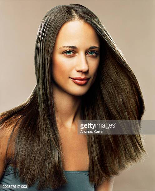 woman with long hair, portrait - straight hair stock pictures, royalty-free photos & images