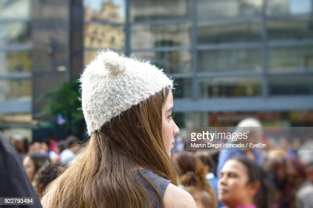Woman With Long Hair Wearing Knit Hat