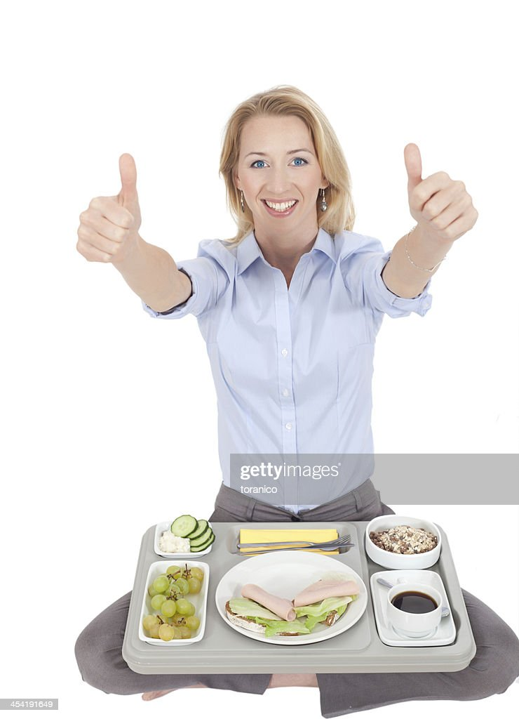 woman with lunch tablet : Stock Photo