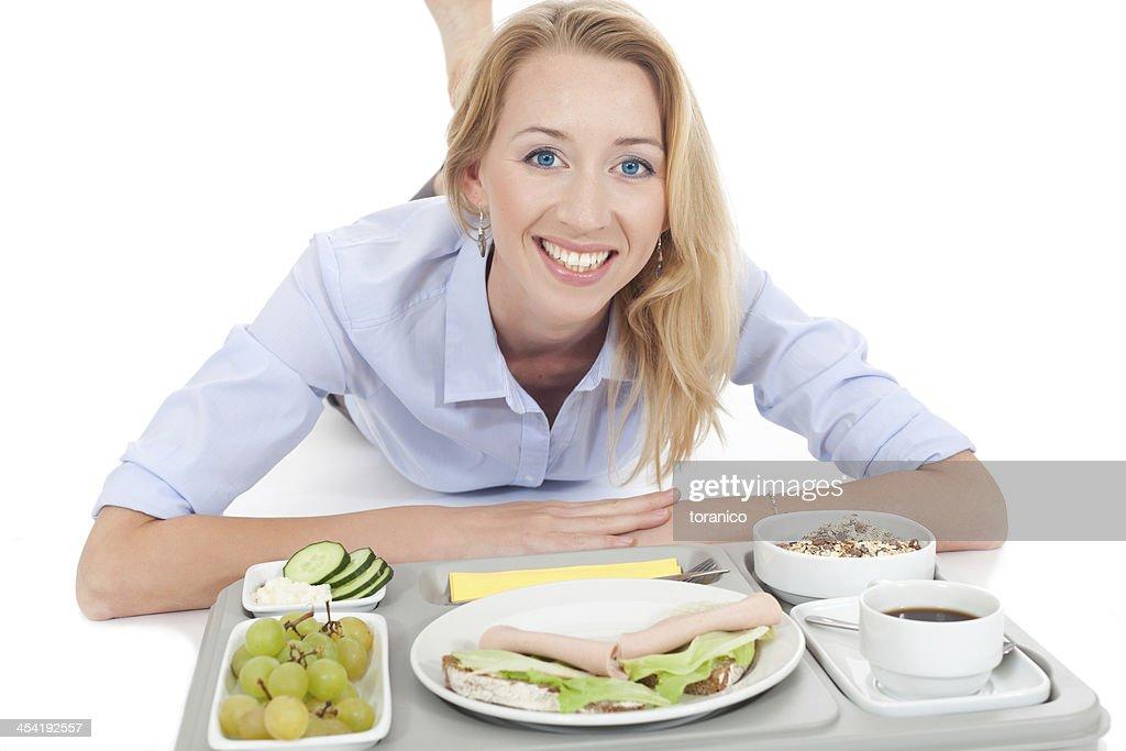 Mulher com tablet Almoço : Foto de stock