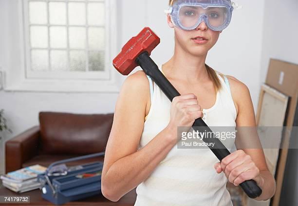Mulher com óculos e olho Macete em Casa