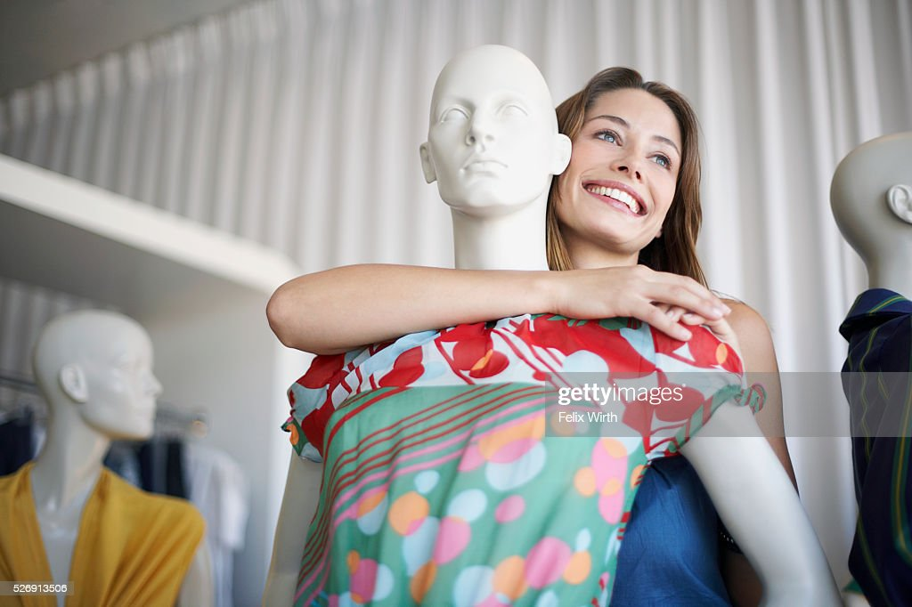 Woman with mannequin : Foto de stock