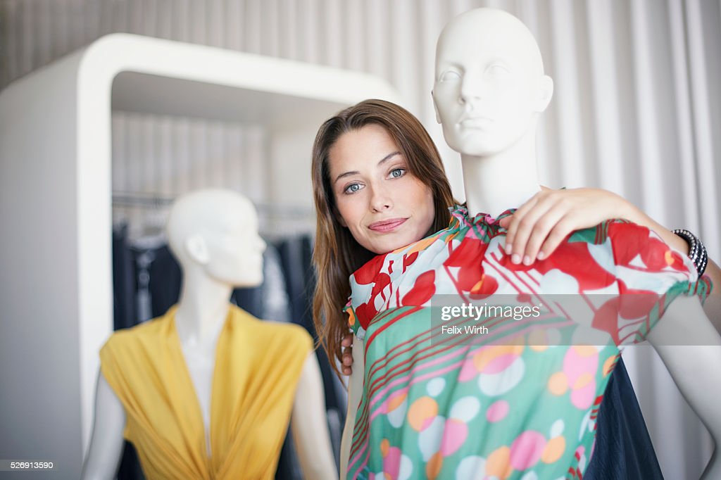 Woman with mannequin : Foto stock