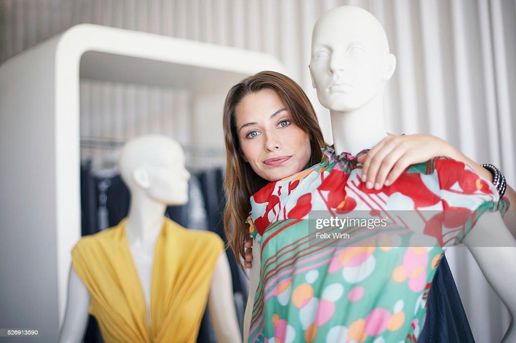 Woman with mannequin : Foto de stock
