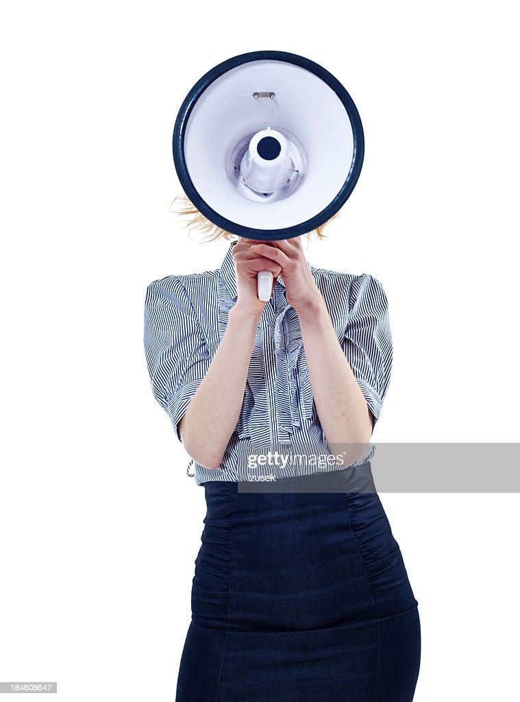 Woman with megaphone : Stock Photo
