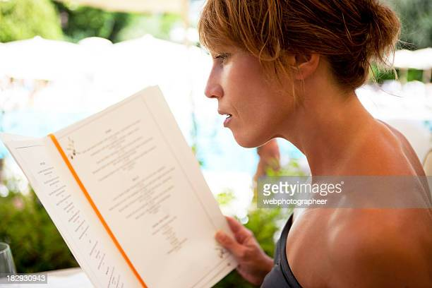 Woman with menu