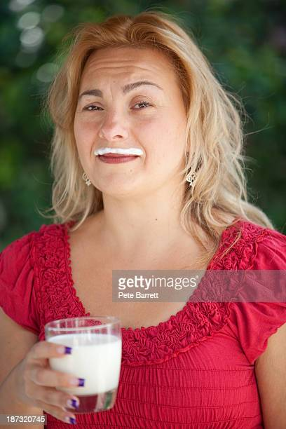 Woman with milk Mustache