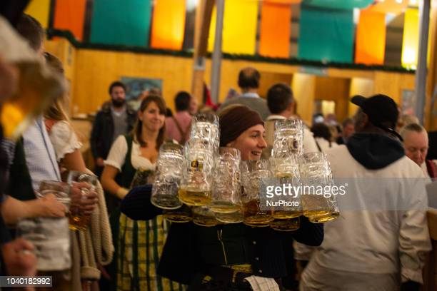 A woman with more than a dozen of empty beer glasses on Day 4 of the Oktoberfest The Oktoberfest or Wiesn in Bavarian is the world's largest...