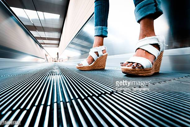 Woman with new sandals at Atlanta airport