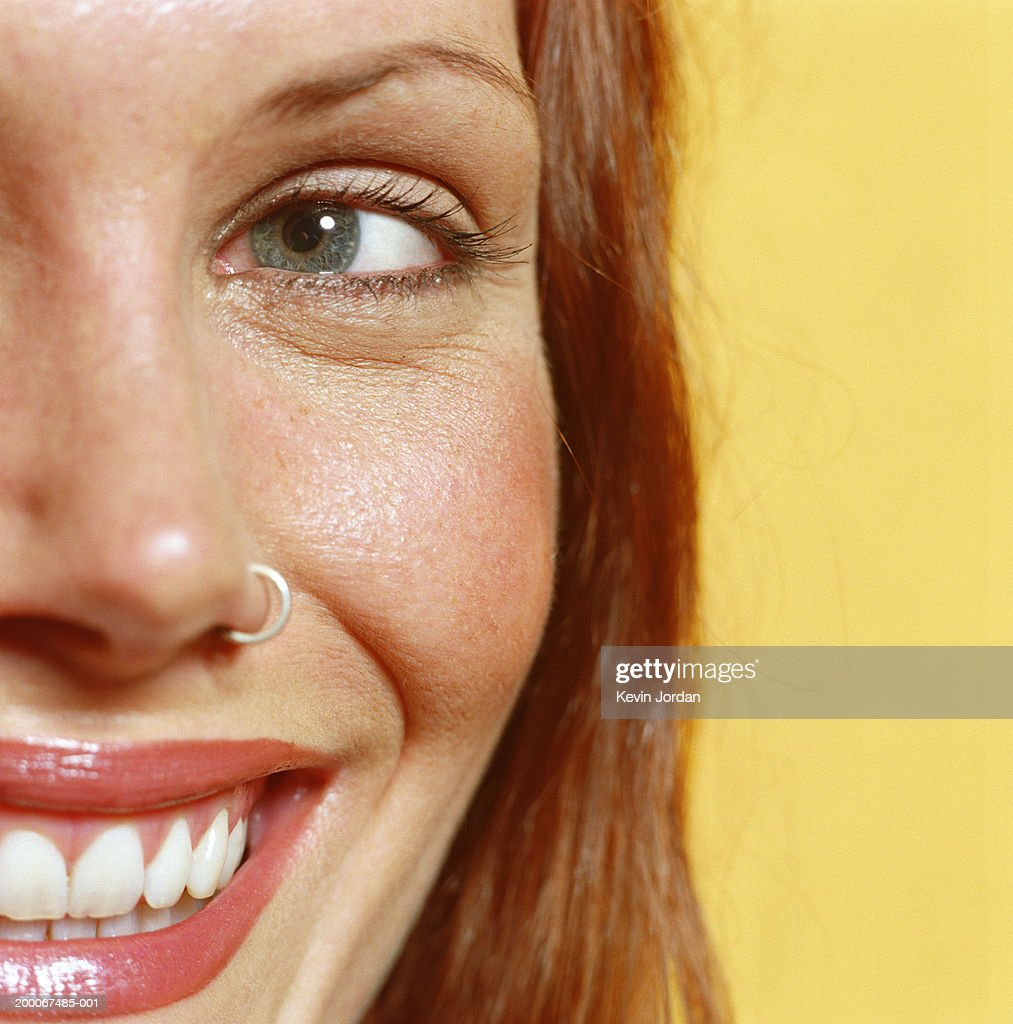 Woman With Nose Ring Smiling Closeup Portrait High Res Stock Photo