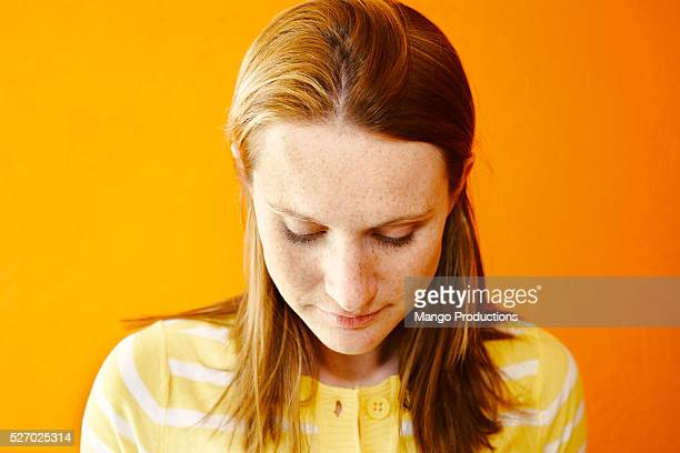Woman with Orange Background