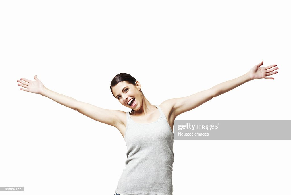 woman with outstretched arms isolated stock photo getty images