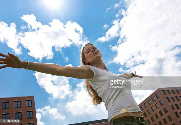 Woman with outstretched arms