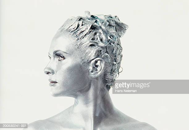 woman with painted face looking to side, close-up (b&w) - body paint stock pictures, royalty-free photos & images