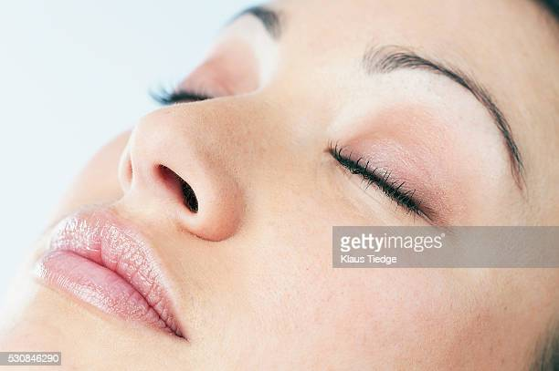woman with pale pink cosmetics - eyelid stock photos and pictures