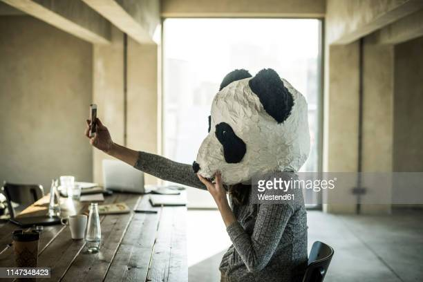 woman with panda mask sitting in office, taking selfie - kreativer beruf stock-fotos und bilder