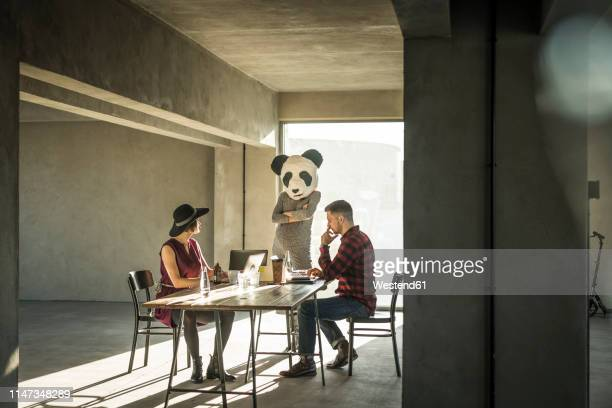 woman with panda mask watching colleagues in office - panda animal stock photos and pictures