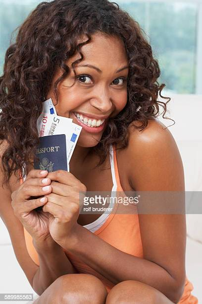 Woman with Passport and Euros